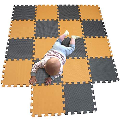 MQIAOHAM Esterilla Puzzle de Fitness-18 losas de EVA Espuma Alfombrilla Protección para el Suelo para máquinas de Deporte y gimnasios sobre el Piso Fácil de Limpiar Naranja Gris 102112
