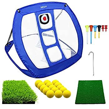 Pop Up Golf Chipping Net   Perfect Golf Gifts for Men Kids,Outdoor Indoor Mini Putting Green Golfing Target Accessories Backyard Practice Swing Funny Game with 15 Training Balls and Two Hitting Mats