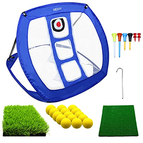 Pop Up Golf Chipping Net | Perfect Golf Gifts for Men Kids,Outdoor Indoor Mini Putting Green Golfing Target Accessories Backyard Practice Swing Funny Game with 15 Training Balls and Two Hitting Mats