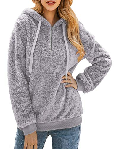 Bwiv Womens Baggy Fluffy Pullover Hoodie Soft Teddy Fleece Jumper with 14 Zipper and Drawstring for Winter Ladies Long Sleeves Sweatshirt Soft Tops Girls Light Grey XL
