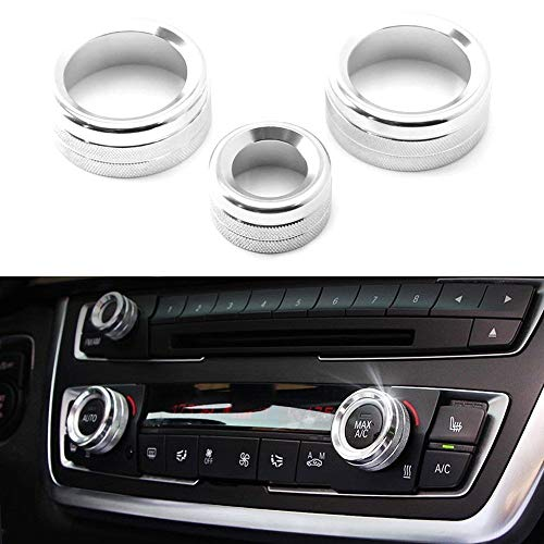 iJDMTOY 3pcs Silver Anodized Aluminum AC Climate Control and Radio Volume Knob Ring Covers Compatible With BMW 1 2 3 3GT 4 Series (F20 F22 F30 F31 F32 F33 F80 F82 F87)