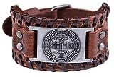 VASSAGO Vintage Amulet The Sigil of Archangel Gabriel Seal of Solomon Talisman Belt Buckle Brown Leather Bracelet for Men Women (Brown Leather, Antique Silver)