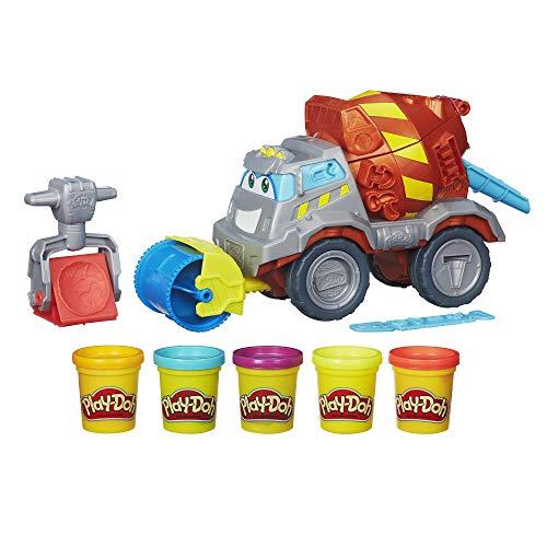 Play-Doh Max the Cement Mixer Spielzeug-Bauwagen mit 5 ungiftigen Play-Doh-Farben, 60 ml Dosen