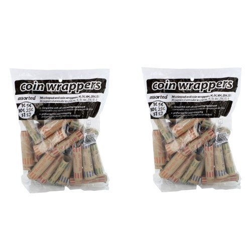 Coin-Tainer Assorted Coin Wrappers 36 Ct Bag 2-pack by Coin-Tainer...