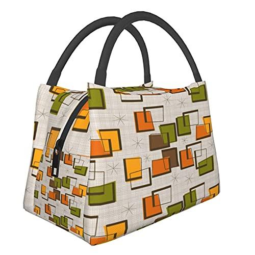 Bolsa aislada portátil Retro Rectángulos Bolsas de compras para comestibles, alimentos, plegable, lavable, multifuncional