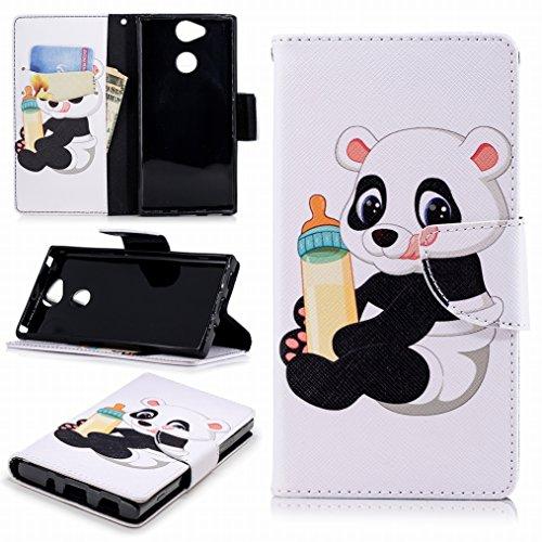 LEMORRY Carcasa para Sony Xperia XA2 Funda Cuero Billetera Tapa Estuches Bolsa con Ranuras para Tarjetas Magnética Protector Stand Suave TPU Silicona Piel Cover Funda para Sony XA2, Baby Panda