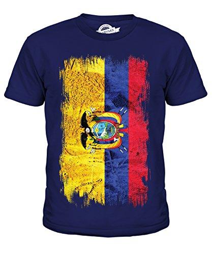 Ecuador Grunge Bandera–Unisex niños Camiseta de Manga Corta Top–Niño/Niña/Infantil/Bebés