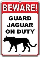 注意してください! ガードジャガーオンデューティファニークォートアルミニウムメタルサイン