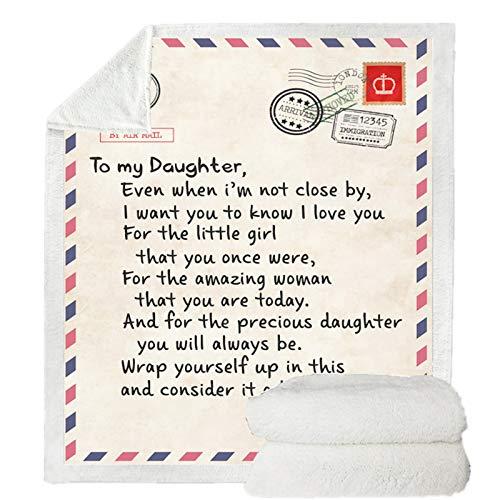 Stillshine. Carta a mi Hija Manta de Letras Manta de Franela 3D Microfibre Cama y Sofa Habitación Colcha Viaje Oficina Picnic Cámping Manta (Color 3, 130 × 150 cm)