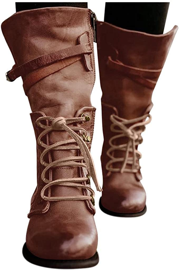 Hbeylia Combat Boots For Women Vintage Leather Lace Up Round Toe Chunky Block Low Heels Wide Mid Calf Work Boots Military Tactical Non Slip Ankle Booties Punk Motorcycle Riding Tall Boots For Ladies