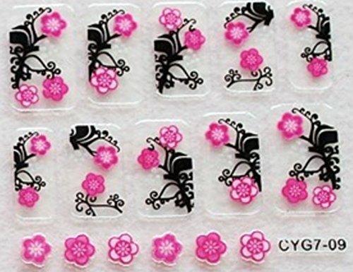 CLUB MODE Nail Art 10 Stickers Autocollants pour Ongles Scrapbooking Doubles Fleurs Roses Fond Noir Design