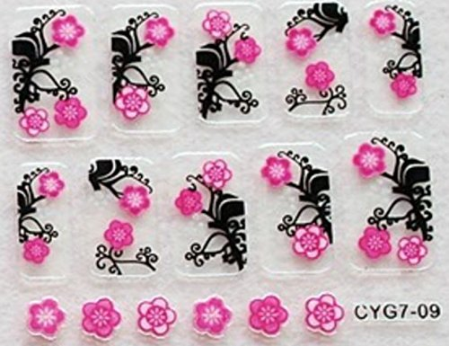 CLUB MODE Nail Art 10 Stickers Autocollants pour Ongles Scrapbooking Doubles Fleurs Roses Fond Noir Design