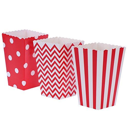 Scatole di popcorn, scatole di caramella di carta della puntina dell'onda della banda 48pcs per il favore del partito (rosso)