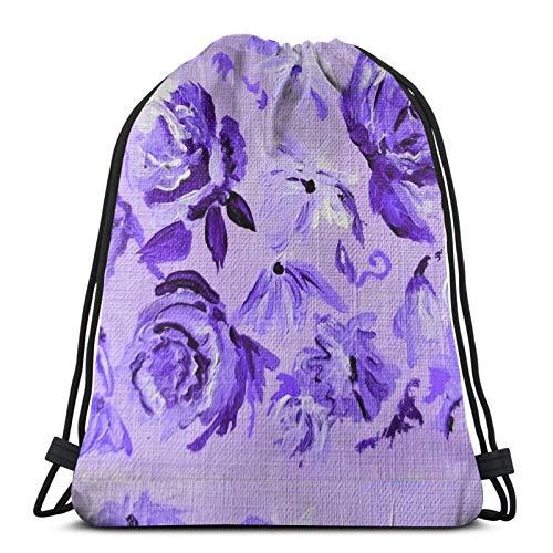 Hdadwy Floral in Lilac Sport Bag Gym Sack Drawstring Backpack for Gym Shopping