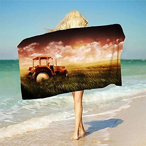 Amacigana Traktor Premium 100% poliéster, gran toalla de playa, adecuada para hotel, piscina, gimnasio, playa, natural, secado rápido (A 14,100 x 200 cm)