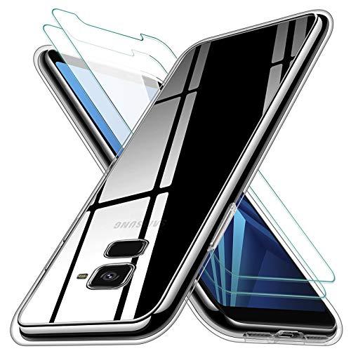 KEEPXYZ Funda para Samsung Galaxy A8 2018 Silicona Transparente TPU Antigolpes + 2 Pcs Protector de Pantalla para Samsung Galaxy A8 2018 Cristal Templado, Vidrio Templado para Samsung Galaxy A8 2018