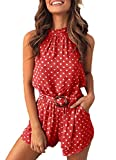 PRETTYGARDEN Women's Summer Polka dot Printed Halter Neck Sleeveless Elastic Waist One Piece Short Jumpsuit Rompers Wine Red