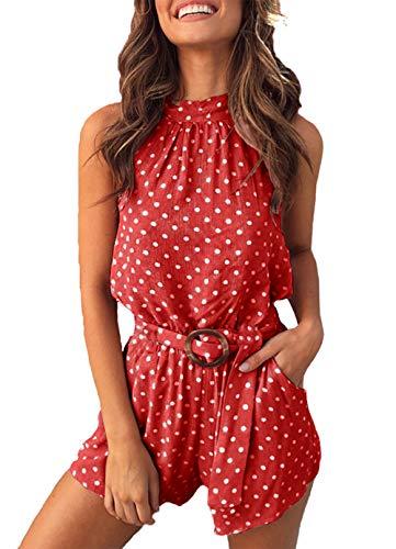 PRETTYGARDEN Mono Corto de una Pieza, sin Mangas, con Cuello Halter, Estampado de Lunares, para Verano, para Mujer - Rojo - Large