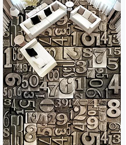 Papel pintado retro tallas de piedra digital moderno patrón abstracto 3D piso baldosa-200 * 140cm