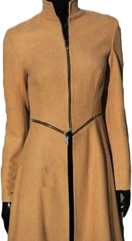 GenericWomen Elegant Long Sleeve Full Length Woolen Blend Long Trench Coat