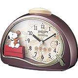 SNOOPY (スヌーピー) 目覚まし時計 キャラクター アナログ R506 電子音 アラーム 茶 リズム(RHYTHM) 4SE506MJ09