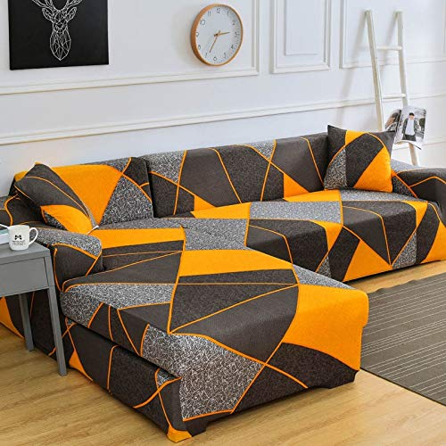 Fundas de sofá de Esquina en Forma de L para Sala de Estar Fundas de sofá Funda de sofá elástica elástica seccional Sofá Cubre Sofá A22 de 4 plazas