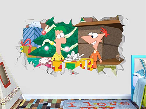 """Phineas Ferb Christmas Wall Decal Sticker - Kids Wall Decal Decor - Art 3D Vinyl Wall Decal - GS282 (Small (Wide 22"""" x 12"""" Height))"""