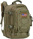 Paladins Backpack Large Work Backpack Military Camo Backpack Molle System Waterproof for Men (GREEN WITH FLAG)