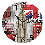 Naanle Stylish London Big Ben Bus Painting Art Print Round Pattern Round Wall Clock, 9.5 Inch Battery Operated Quartz Analog Quiet Desk Clock for Home,Office,School