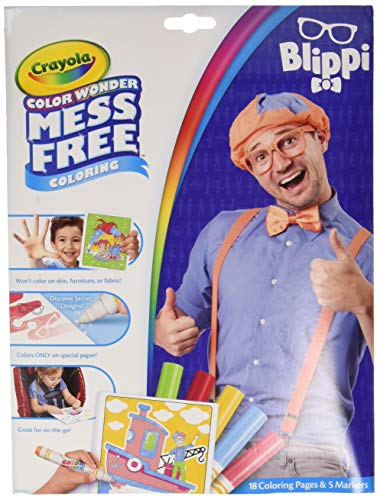 Crayola Color Wonder Blippi, Mess Free Coloring Pages & Markers, Gift for Kids, Age 3, 4, 5, 6