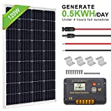 ECO-WORTHY 120 Watt Solar Panel Off-Grid RV Boat Kit:120 Watt Solar Panel+20A LCD Display Charge Controller +Solar Cable +Z Brackets