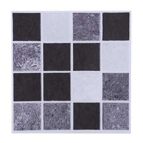 YOPOTIKA Mosaico azulejos de transferencia, autoadhesivo, papel para baño, cocina, pared, escaleras, suelo, bricolaje, casa, 18 unidades (negro)