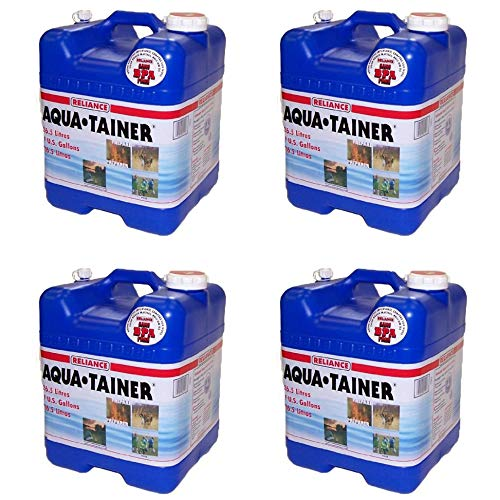 Reliance Products Aqua Tainer 7 Gallon Drinking Water Storage Container Tank (4 Pack)