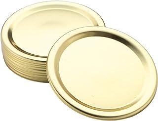 YOOJIA 10Pcs Mason Jar Lids Stainless Steel Split-Type Canning Lids Rust Proof Sealing Storage Bottle Caps for Regular Mou...