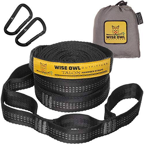 Wise Owl Outfitters Hammock Straps Combined 20 Ft Long, 38 Loops with 2 D Carabiners - Easily...