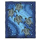 Dawhud Direct Super Soft Full/Queen Size Plush Fleece Blanket, 75' x 90' (Tribal Sea Turtles)
