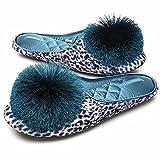 CORIFEI Women's Pom-Pom Tassel Leopard Print House Slipper,Slip-on ballerina Comfort Soft Non-slip Rubber Sole Indoor Outdoor