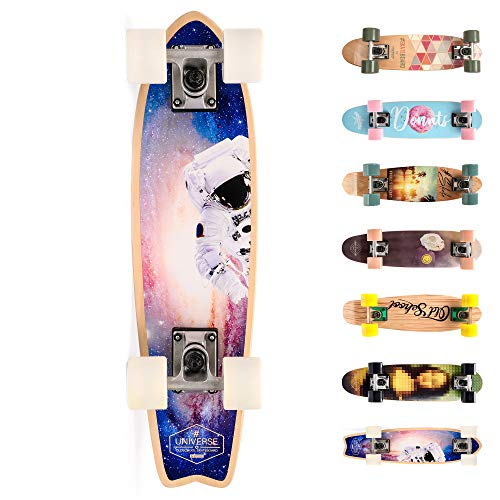 meteor Holz Skateboard Kinder - Mini Cruiser Kickboard - Skateboard mädchen Rollen Board - hohe Qualität Old School Skateboards Holz Deck - Retro Skateboard Jungen - Kinder Mini-Board (Spaceman)