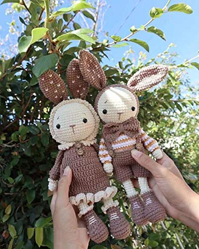 A Pair of Mimi and Miti The Little Bunny   Crochet Animals Stuffed for Baby First Doll Friend Amigurumi Crochet   Beautiful Photo Props for Newborn/Kids (Brown)