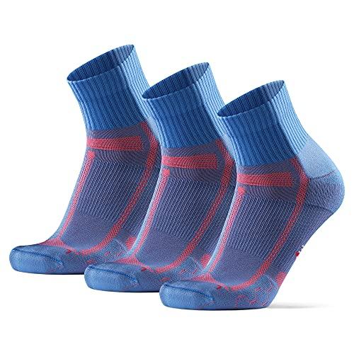 DANISH ENDURANCE Calcetines de Running para Largas Distancias, para Hombre y Mujer Pack de 3 (Azul Claro/Naranja, 39-42)