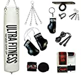 ULTRA FITNESS - Juego de saco de boxeo relleno pesado de 1,2 m o 1,5 m con gancho para el techo, blanco, 1,52 m