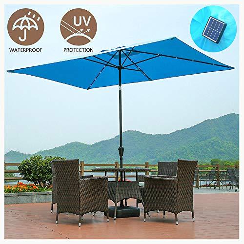 HNHN Gartenschirm Sonnenschirm, 2,0 x 3,0 m rechteckig neigbare Sonnenschirme mit Solar-LED-Leuchten, Kurbel, Verstellbarer Kippmechanismus, für Outdoor, Basis Nicht im Lieferumfang enthalten,Blau