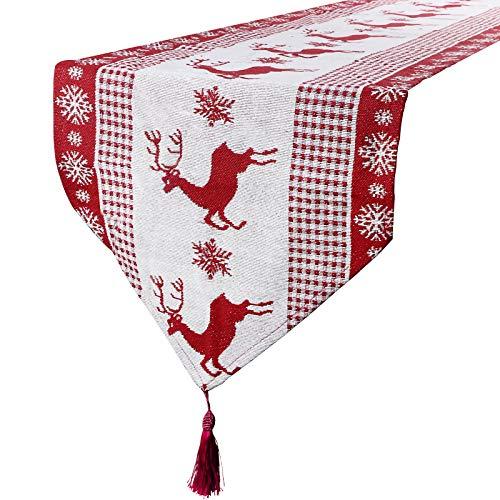 Camino de Mesa Navideño 170 * 33cm Arpillera Decoración de Navidad Corredor de Mesa Tapete Adorno Rojo Blanco con Renos Copos de Nieve
