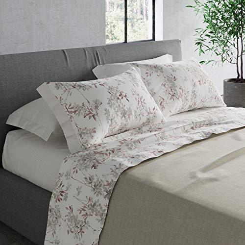 COGAL – Juego de sábanas para cama de matrimonio – Eden – Estampado fantasía de colores, disponible en varios colores, material 100% algodón – Fabricado en Italia