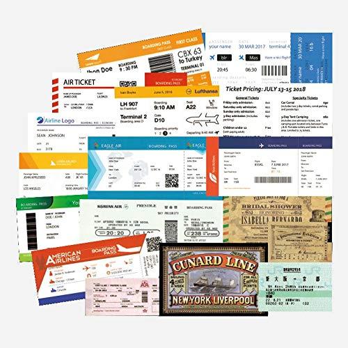 PMSMT 55 Uds Pegatinas Divertidas para Billetes de avión Tarjetas de embarque de Viaje Pegatinas para Billetes de avión calcomanías para Maleta portátil Equipaje Coche 100% Vinilo