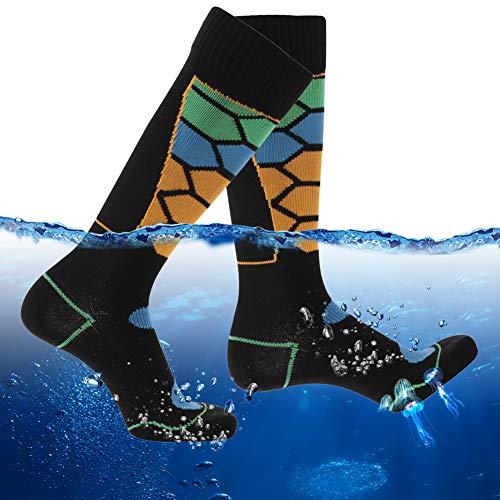RANDY SUN Waterproof Work Socks, Mens Womens Winter Rain Gear Skiing Snowboarding Sweat Proof Socks for Golf Running Cycling 1 Pair (Black&Multicolor,Large)