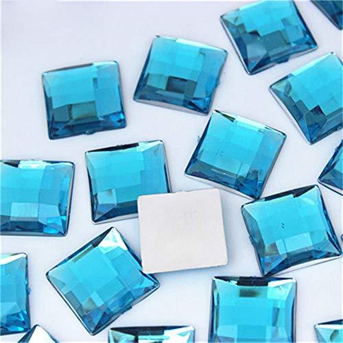 PENVEAT 50 STÜCKE 14mm Quadratische Form Bunte Flatback Acryl AB Strass Steine und Kristalle Für DIY modeschmuck Zubehör WC788, Sky Blue
