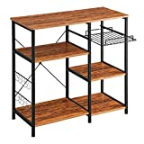 Mr IRONSTONE Kitchen Baker's Rack Vintage Utility Storage Shelf Microwave Stand 3-Tier+3-T...