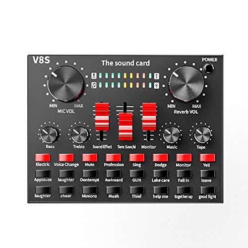 YOREN Live Soundkarte mit Bluetooth, Audio Mixer USB Externe Soundkarte für Handy, Computer, Audio-Schnittstelle, Live Recording, Home KTV