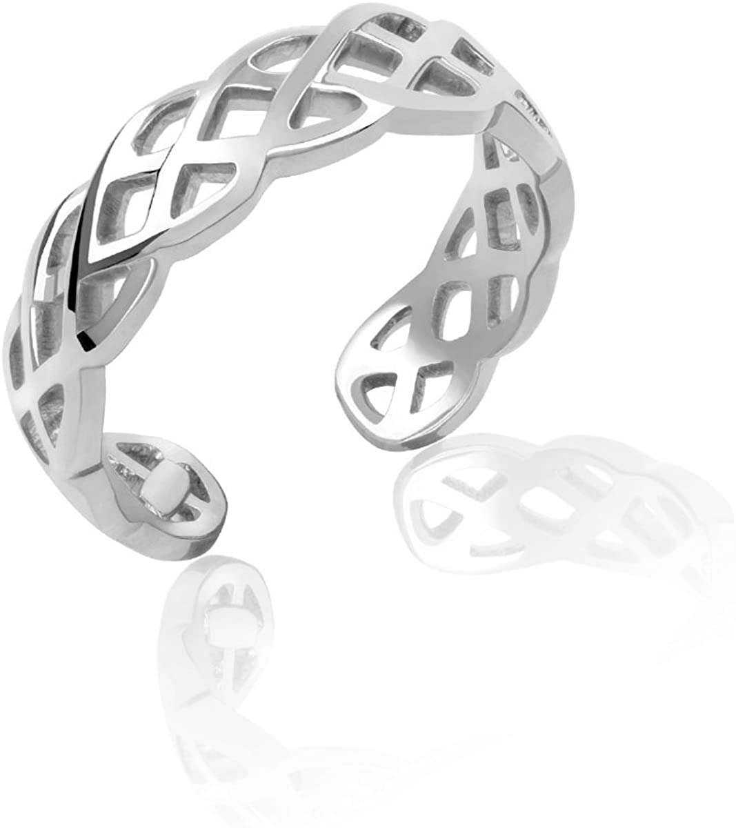 Sterling Silver Braided Weave Toe Miami Max 68% OFF Mall Ring